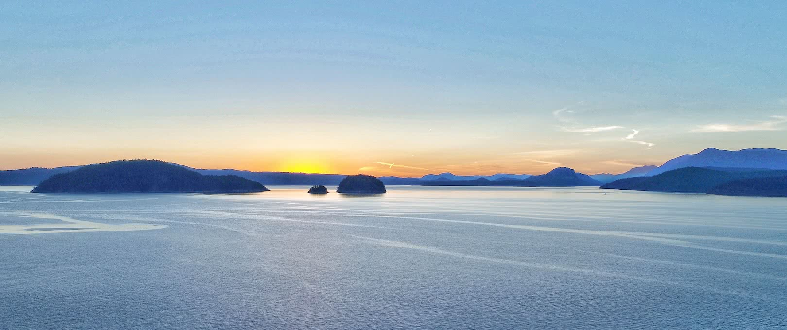 A sunset over Desolation Sound, British Columbia