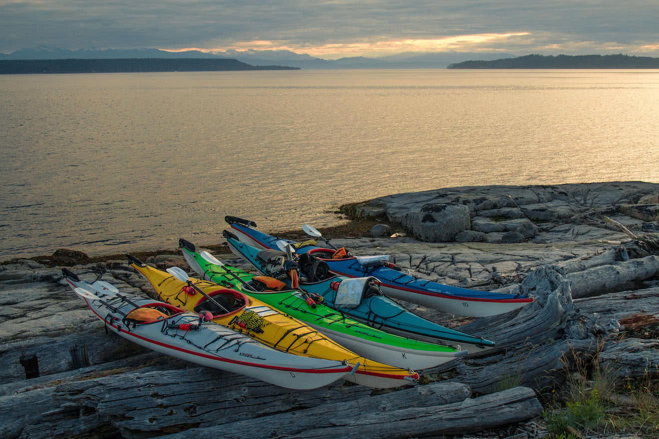 Sea kayak rentals stored safely for the night in the Copeland Islands