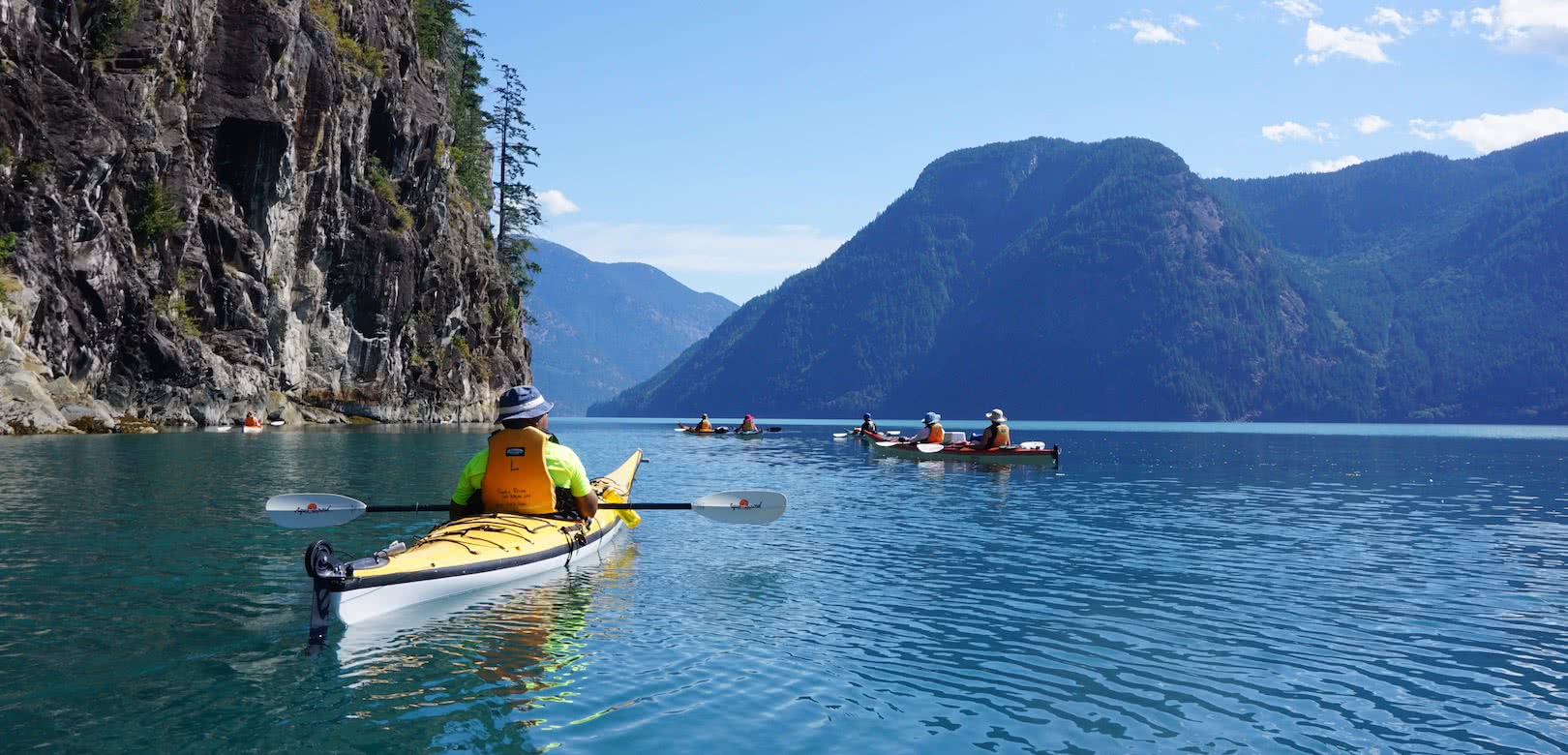 Our 7 day multi-day kayak tours paddle into Toba Inlet and move camps every day, unique among British Columbia kayak tours