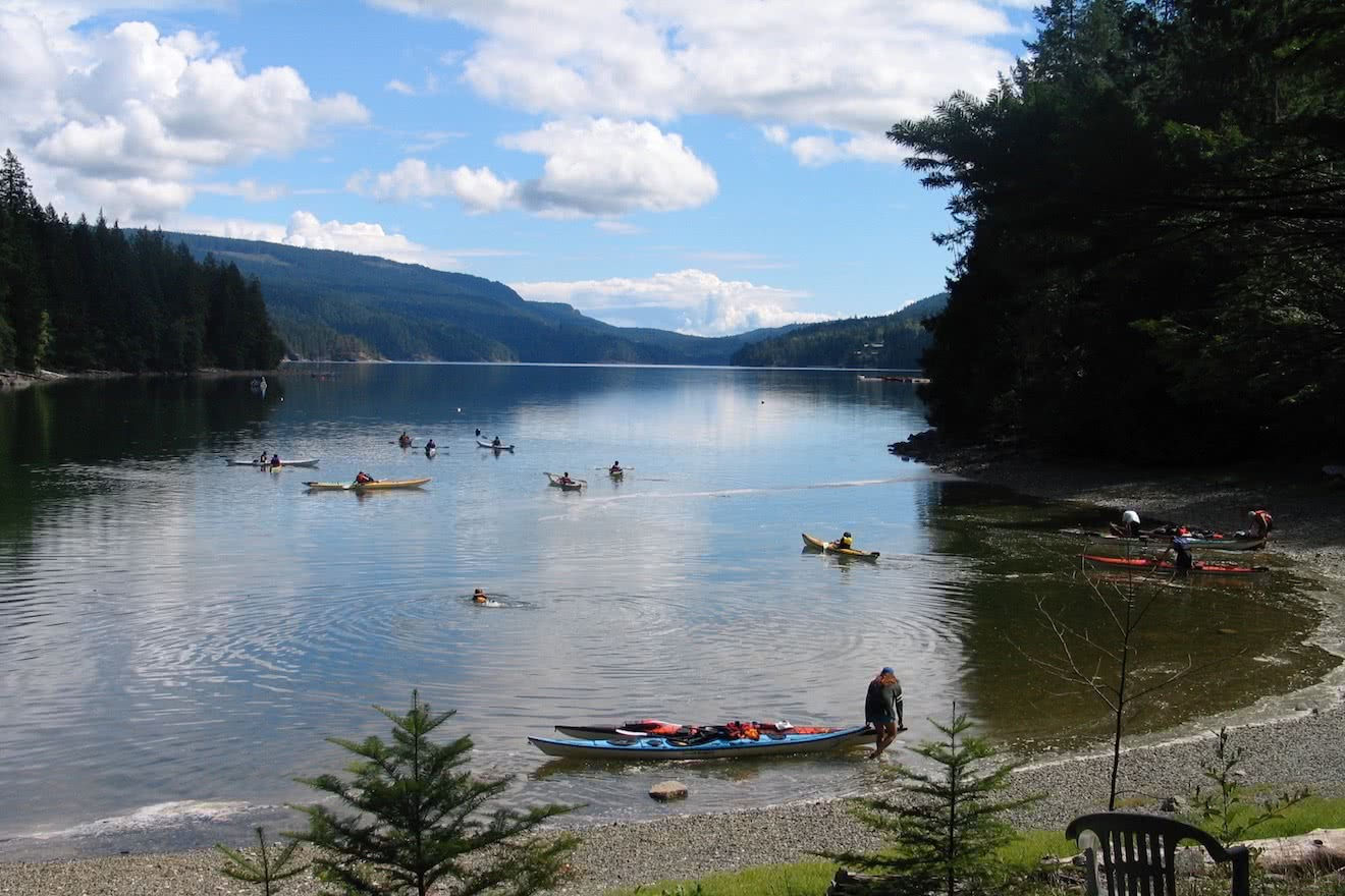 Sea kayak lessons in Penrose Bay, Okeover Inlet, Desolation Sound