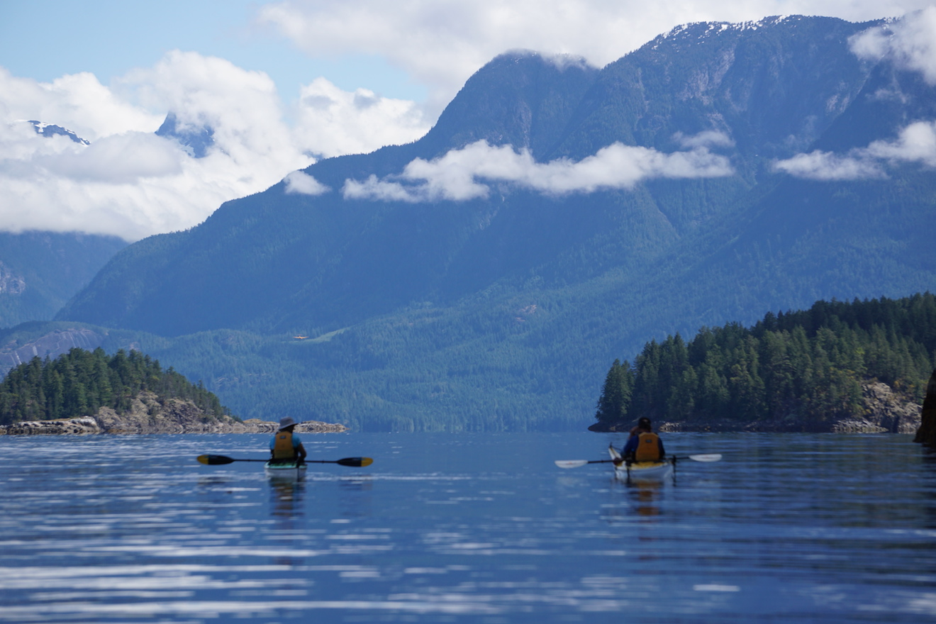 Paddling towards Homfray Channel from Desolation Sound