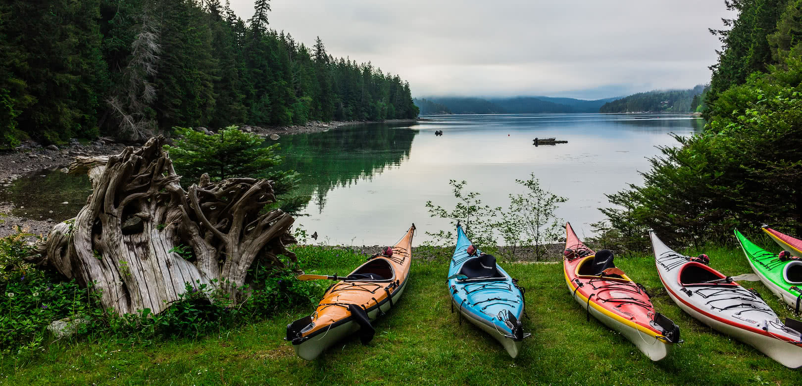 Touring kayaks staged for one of our multi-day kayak tours into Desolation Sound