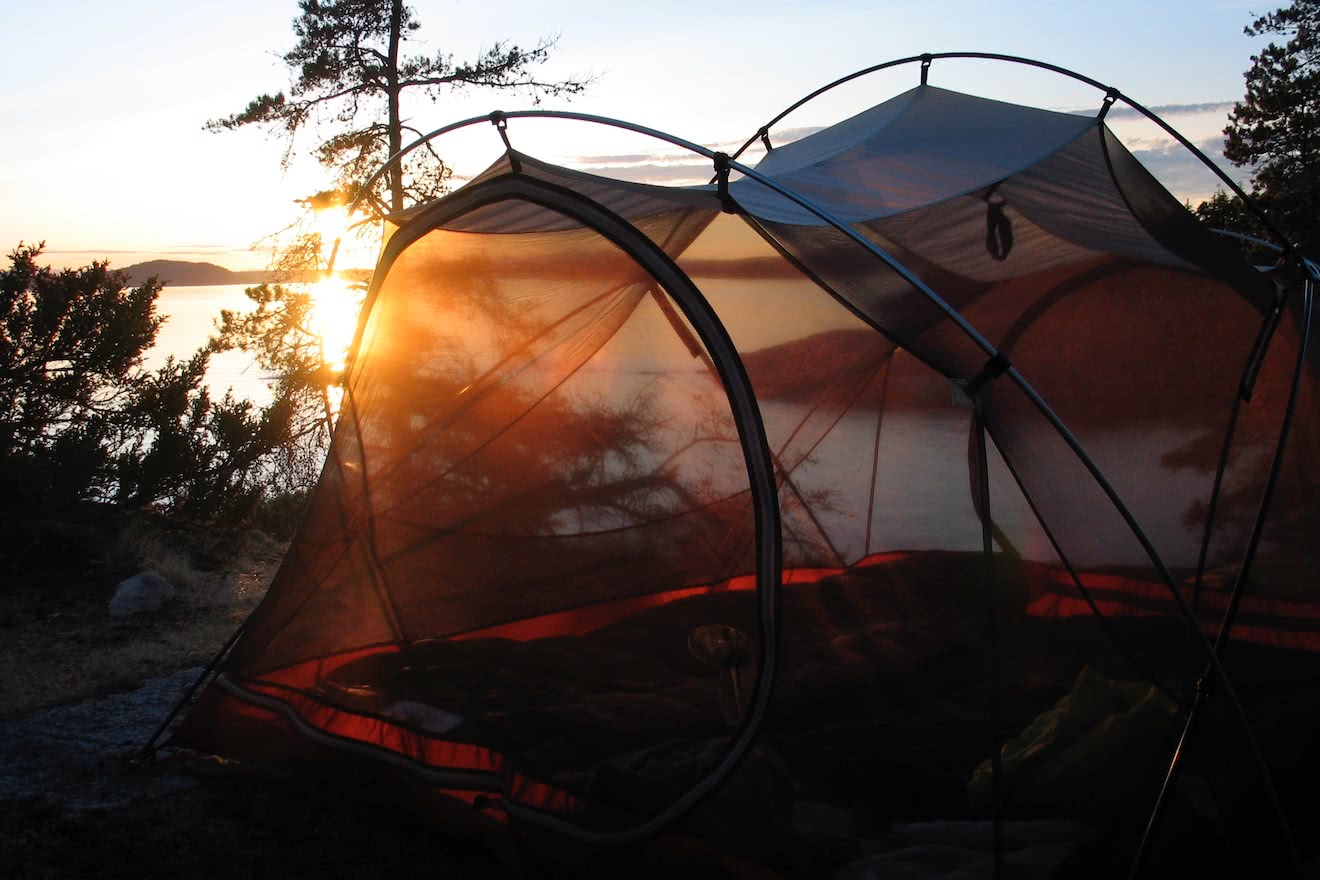 A tent on the Copeland Islands, British Columbia