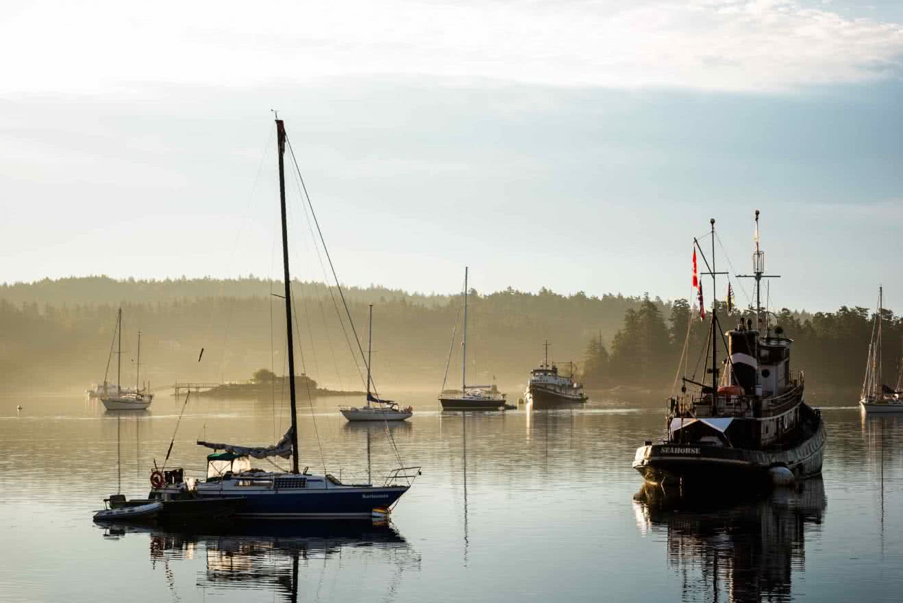 Boats anchored off Saltspring Island in the BC Gulf Islands