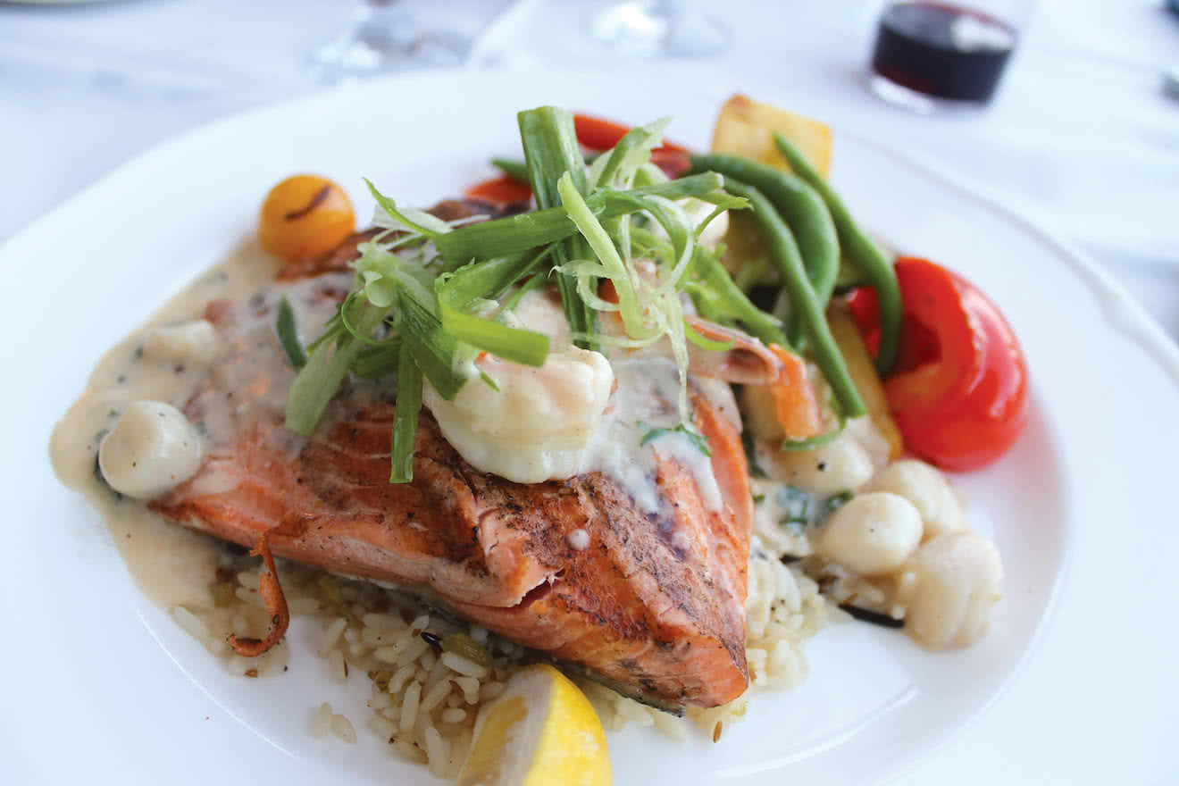 A nice, local salmon dish at The Laughing Oyster in Lund