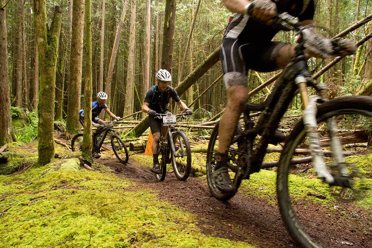 A group of locals in the Powell River mountain biking scene riding the trails