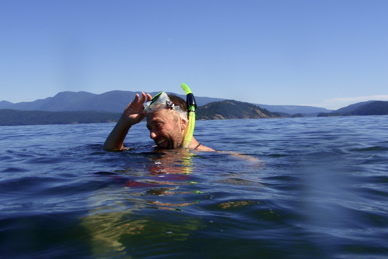 Snorkelling in the warm ocean temperatures of Desolation Sound