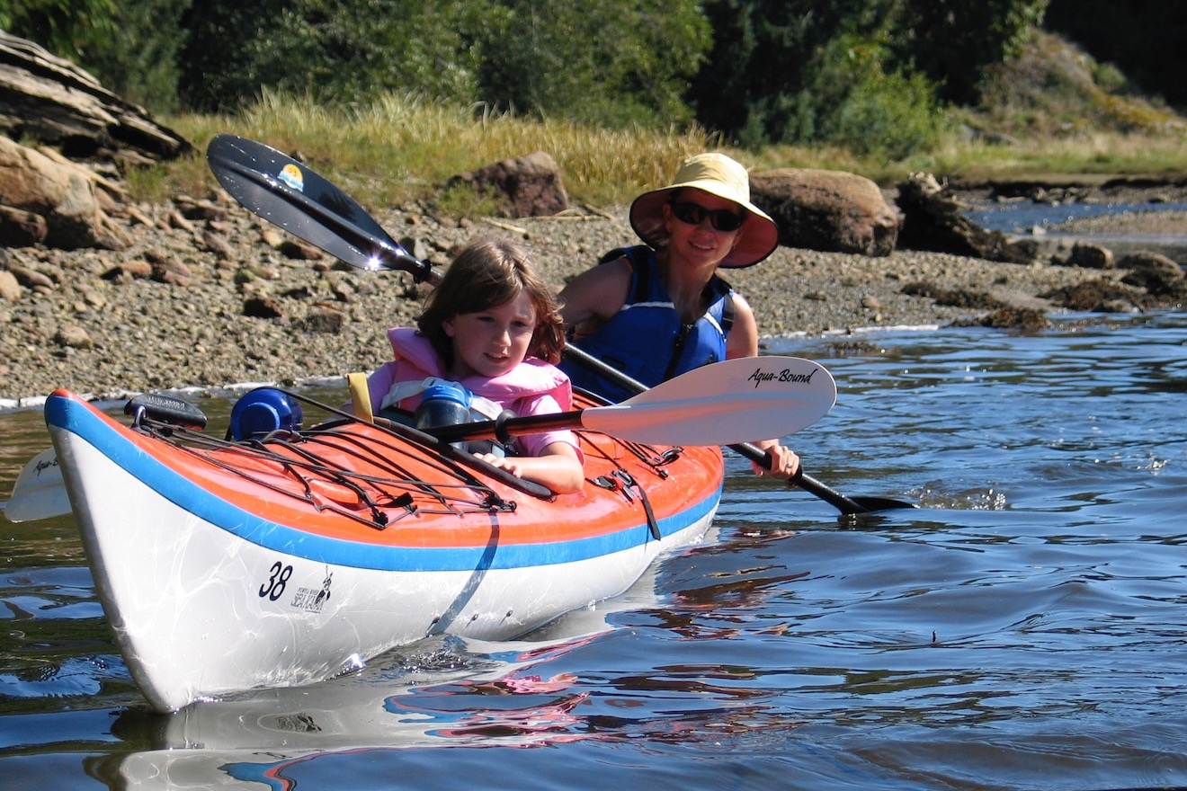 Mother and daughter paddling a double kayak